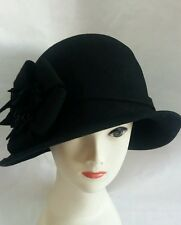 ladies black flower wool felt cloche vintage style hat