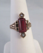 ANTIQUE Vtg 14K YELLOW GOLD SIMULATED RED/ORANGE STONE SEED PEARL RING Sz 5.5