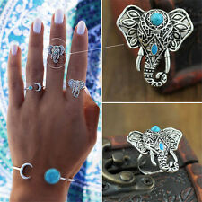 1Piece Elephant Ring Pretty Punk Rings Boho Carving Silver Plated Knuckle Ring R