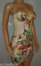 Miss Sixty nude floral pink multi corset fitted bodycon mini dress XS 6 8 BNWT