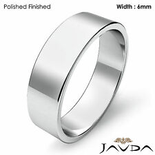 Platinum Plain Flat Pipe Cut Wedding Band Men Solid High Polished Ring 6mm 10g