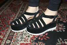 JEFFREY CAMPBELL DUXBOX BLK/MULTI WEDGE/SANDAL SIZE 7.5