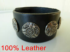 Mens 100% cow leather wristband/bracelet (black). FREE post.  NWT Biker, Gothic.