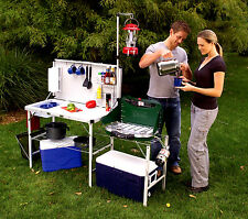 Camp Kitchen Portable Folding Deluxe Table Outdoor Cooking Utility Sink Rack NEW