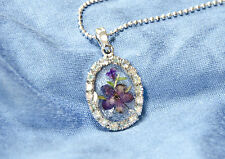 HAND MADE JEWELLERY,REAL FLOWERS  PENDANT-(OVAL BLUE)