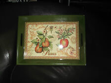 Brand New w/Tags Decorative wooden tray for serving or wall hanging pears apple