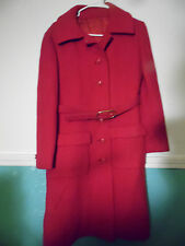 Vintage Brynwood Red Winter Coat Small Belt  Overcoat USA