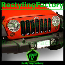 07-16 Jeep JK Wrangler All Black Trim 7pcs Grille Cover Insert Mesh Grill Shell
