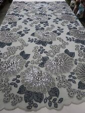 Silver & Charcoal Mesh w/ Embroidery Beaded Lace & Sequins Fabric -  by the Yard