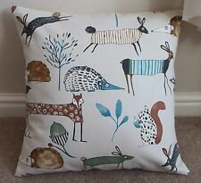 "PRESTIGIOUS ""OH MY DEER"" FOREST ANIMALS CUSHION COVER 17 X 17"" COTTON HANDMADE"
