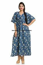Indian Handmade Floral Dress Sexy Voile Cotton Kaftan Women Clothing Hippie Maxi