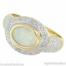 Genuine Opal & Diamond Ring Sterling Silver or Yellow Gold Plated Silver