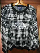 SPECIALTY Wool Blend Mens XL Black Gray Plaid Sweater w Canadian Geese NWOT