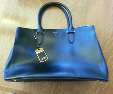 LAUREN RALPH LAUREN NEWBURY LEATHER DOUBLE ZIP SHOPPER $268 BLACK TOTE