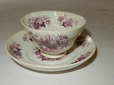 Antique Mason's Fruit Basket Handleless Cup and Saucer Deep Red Color
