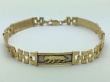 "10K Yellow Gold Panther Watch Link 8"" Bracelet 12.3 grams, 8.1 mm Jewelry"
