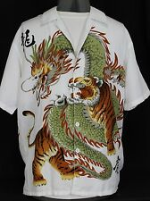 Super Cool White Dragon Tiger Button Up Shirt Mens Med Casual Oriental Chinese