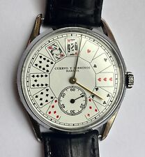 Vintage Cuervo y Sobrinos Habana Watch Playing Card Face Stainless Steel  GR0816