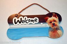 Little Gifts Laminated Wecome Door Sign YORKIE Dog Lovers Bone Shape Wooden