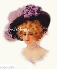 Victorian Fabric Block Girl with Purple Plume  Hat Image printed onto Fabric