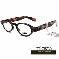 NWT$39.99 MIASTO STANDFORD RETRO ROUND OVAL NERD READER READING EYEGLASSES +2.25