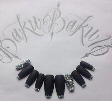 Hand Painted False Nails Matte Black & Diamanté Coffin Square Full Cover Tips
