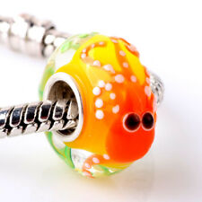 Handmade Murano Glass Bead Animals Charm Sterling Silver Core For Bracelet JC