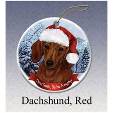 Dachshund Red Howliday Porcelain China Dog Christmas Ornament