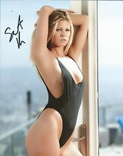 Scarlet Red Black Swimsuit Sexy Hott Adult Model Signed 8x10 Photo w/COA Proof
