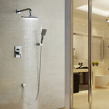 Bathroom Rainfall Wall Mounted With Handheld Shower Head Faucet Set Mixer