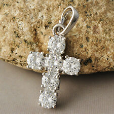 Fashion Womens White Gold Filled Clear Rhinestone Cross Pendant Fit necklace