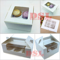 Cupcake Boxes 4 6 & 12 Cup Window Box with Removable Inserts Flat or With Handle