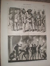 Retainers of the Maharajah of Cashmere at Jummoo India 1876 old print ref V
