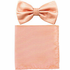 New formal men's pre tied Bow tie & Pocket Square Hankie stripes peach wedding