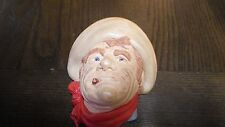 CHALKWARE~COWBOY WITH CIGAR/HAT RAWHIDE VINTAGE WESTERN DECORATIVE PIECE FACE~