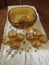 Vintage Art Deco Amber Glass Punch Bowl, 8 Cups and Ladle