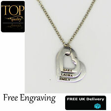 3 Heart Pendant, Personalised Engraved Name Necklace,18K White Gold Plated,Gift,