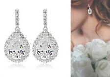 Swarovski Element Clear Dangle Crystal Tear Drop Silver Bridal Wedding Earrings