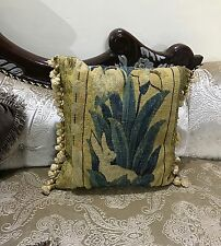 """ANTIQUE 19C AUBUSSON FRENCH HAND WOVEN TAPESTRY CUSHION 16"""" By 16"""""""