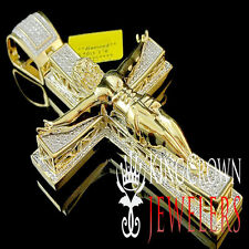 Mens Yellow Gold Finish  Diamond Crucifix Jesus Piece Pendant Cross Charm 1/2 Ct