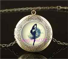 Vintage Dandelion ballet dancer Cabochon Glass Brass Locket Pendant Necklace