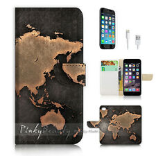 "iPhone 6 (4.7"") Print Flip Wallet Case Cover! World Map P0510"