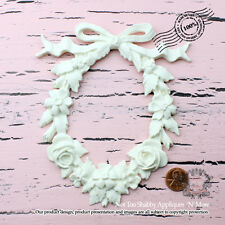 "Shabby Chic Furniture Appliques ""Rose Oval Shape Wreath with Vintage Bow"""