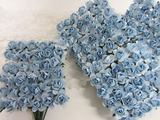 144 Mulberry Paper Rose Flower Bouquet/scrapbooking/Wire Stem H420-Light Blue
