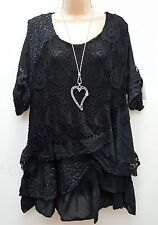 New Italian Lagenlook Black Lace Sequin Mesh Top Tunic 16 18 20 22 24
