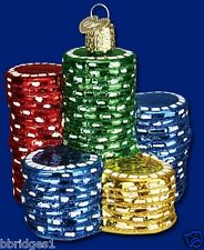 *Poker Chips* [44040] Old World Christmas Glass Ornament - NEW