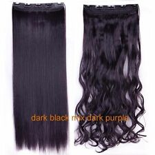 100% Real Natural Human 3/4 Full Head Clip In Hair Extensions Brown Black Blonde