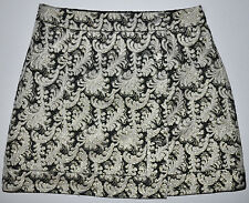 NEW Cooperative Button Up Gold Cream Black Metallic Demask Skirt Sz 6 $69 LOVELY