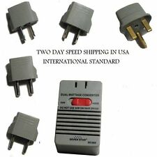 50/1600 Watt Voltage Converter Transformer 5 Kit Plug Adapters
