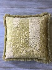 Green Tan Tapestry Throw Pillow with Cut Fringe Textural Chenille Yarn on Front